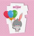happy birthday bunny cartoon card vector image vector image