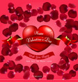 happy valentines day on red background and red he vector image vector image