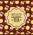 herbal tea disposable paper teacup and lemon vector image