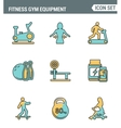 Icons line set premium quality of fitness gym vector image vector image