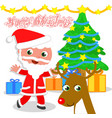 isolated santa claus with tree and reindeer vector image vector image