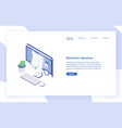 landing page template with desktop computer paper vector image