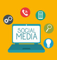 laptop with social media icon vector image vector image