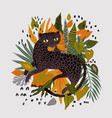 leopard in tropical leaves isolated on white vector image