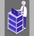 man working in database center on computer vector image vector image