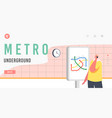 metro underground landing page template male vector image vector image