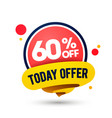 modern today offer mega sale up to 60 off tag vector image vector image