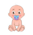 newborn boy toddler pacifier in mouth and diapers vector image