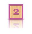 number 2 wooden alphabet block vector image vector image