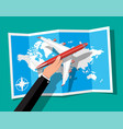 passenger or commercial jet in hand map vector image vector image