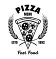 pizza emblem badge label or logo in vector image vector image