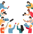 press conference journalist characters vector image