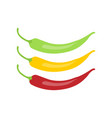 red chili pepper icon red green and yellow chili vector image