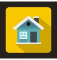 Small blue cottage icon flat style vector image vector image