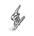 snowboarder in flight sketch hand vector image