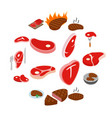 steak icons set isometric 3d style vector image vector image