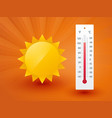 the yellow sun with thermometer vector image