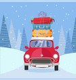 treveling red car with pile luggage bags vector image