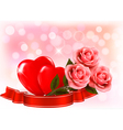 Valentines day background Three red roses with two vector image vector image