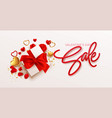 valentines day sale design template with gift box vector image