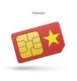 Vietnam mobile phone sim card with flag vector image