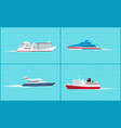water transport yacht sea trip vessels set vector image vector image