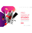 web page design template for makeup studio course vector image vector image