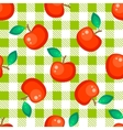 Tartan plaid and red apple seamless pattern vector image