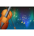 A violin and its bow with musical notes vector image