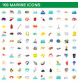 100 marine icons set cartoon style vector image