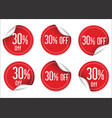 30 percent off red paper sale stickers vector image