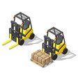 3d isometric forklift for storage vector image vector image