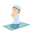 a young muslim boy praying vector image