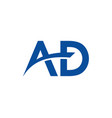 ad and swoosh monogram initial letter logo
