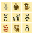 assembly flat shading style icons panda monkey vector image vector image