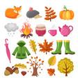 autumn icon set various symbols autumn vector image vector image