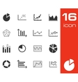 black diagram icons set on white background vector image vector image
