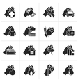 Black Insurance and risk icons vector image vector image