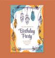 boho style birthday invitation template graphic vector image