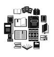 books icons set simple style vector image