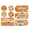 bread and pastry desserts discount offer tags vector image vector image