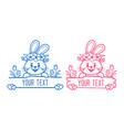 bunny split monogram baclothes print easter vector image