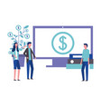 business man and woman office computer money vector image