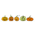 cartoon halloween pumpkin set orange pumpkins vector image