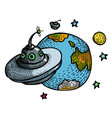cartoon image of flying saucer and planet vector image