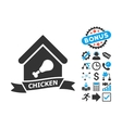 Chicken Cafe Flat Icon with Bonus vector image vector image