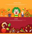 circus horizontal banner set vector image vector image