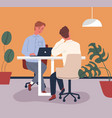 colorful scene with colleagues sitting at table vector image