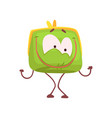cute happy smiling purse character funny green vector image vector image