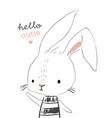 cute rabbit character hand drawn vector image